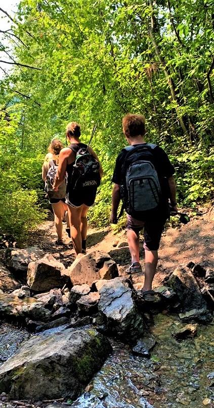 hiking at Holland Falls vertical