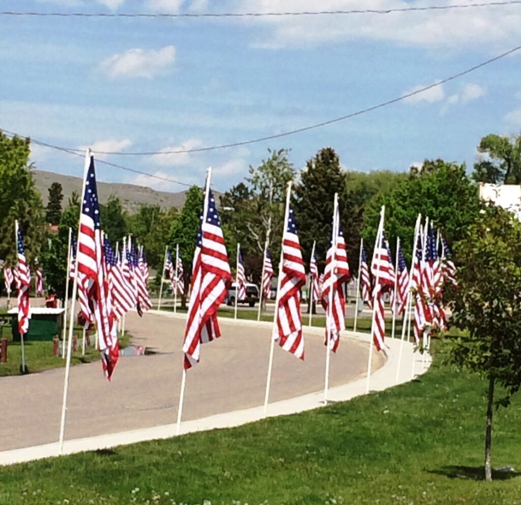 park with memorial day flags